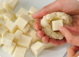 boulettes de riz à la mozzarella