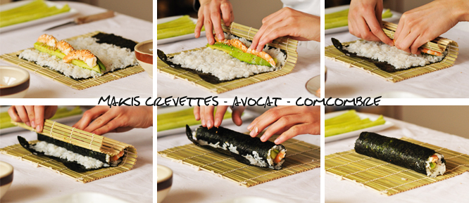 makis concombre avocat crevettes makis californiens makis ch vre tomates sech es. Black Bedroom Furniture Sets. Home Design Ideas
