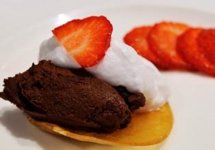 Dessert : ganache chocolat, chantilly coco