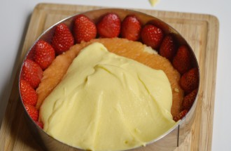 montage fraisier creme