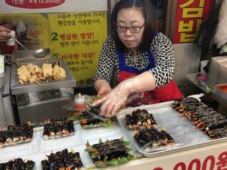 Minis kimbap au marché de Séoul